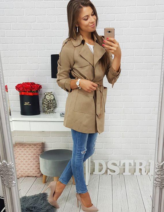 płaszcz damski z dstreet - beżowy